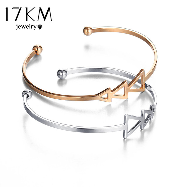 17KM Small Scratch Triangle Open Bracelet Bangles for Women 2017 Vintage Female