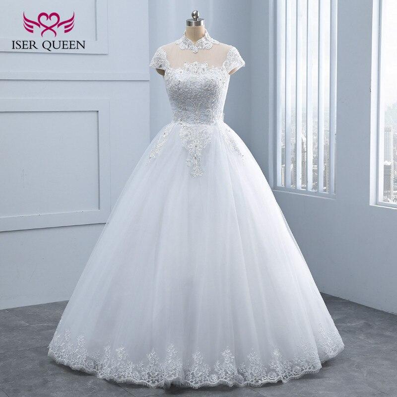 High Stand Collar Elegant Arab Wedding Dresses With Beautiful ...