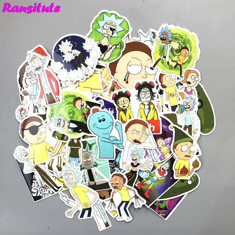 R143 69pcs/set Rick And Morty Graffiti Stickers Children DIY Skateboard Laptop Suitcase Phone Bike Bicycle Waterproof Sticker