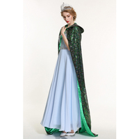 Pageant Sequin Cloak for Women Full Length 71 Ponchos Europe Style Lace up Robe Medieval Cape Cosplay Party Queen Costume Green