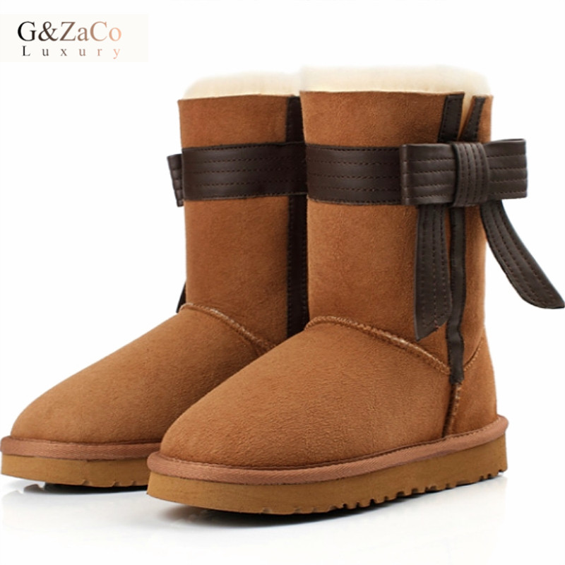 G&Zaco Luxury Brand Winter Sheepskin Snow Boots Female Bow Sweet Natural Wool Warm Princess Mid Calf Leather sheep fur Boots australia new sheep fur one snow boots female calf height winter warm button pendant water proof boots free shipping