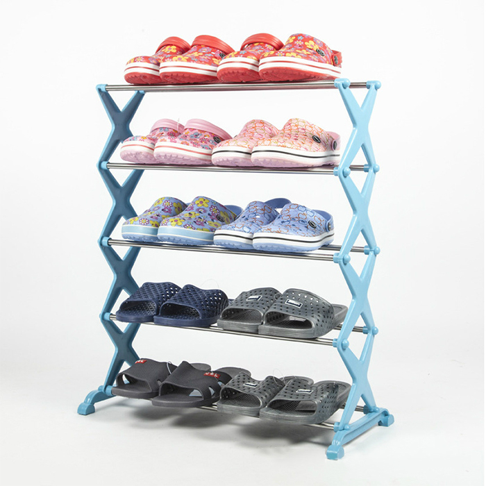 DIY Stainless Steel 5 Tiers Shoes Rack Shelf Simple Utility Combinatorial Shoes Storage Organizer Blue vik max adult kids dark blue leather figure skate shoes with aluminium alloy frame and stainless steel ice blade