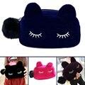 Kawaii Cute Cat Design Velvet Solid Color Makeup Bags Cosmetic Make Up Organizer Bag Women Bag Cosmetics Necessaries