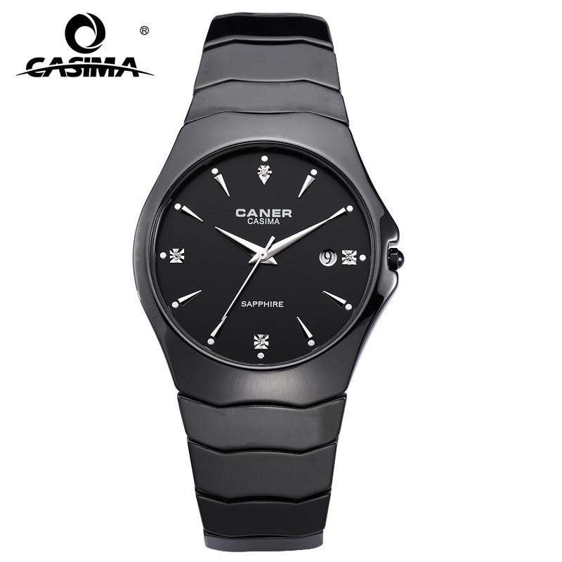 Fashion Casual Lover's Watch Ceramic Black Quartz Movement Watch With Rhinestone Calendar Display Waterproof Couple Watches 6705 цена и фото