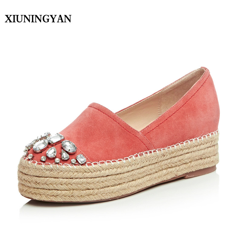 XIUNINGYAN Women's Platform Flats Loafers Slip-on Genuine Leather Leisure Espadrilles Brand Designer Rhinestone Shoes for Women women s genuine leather carving slip on loafers brand design platform flats leisure espadrilles brogues shoes moccasins zapatos