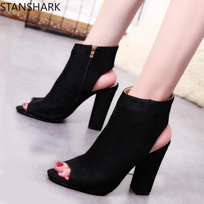 ใหม่ผู้หญิงข้อเท้ารองเท้าหนัง Faux Suede เปิด Peep Toe รองเท้าส้นสูงซิปแฟชั่นสแควร์ยางสีดำขนาด 35-43