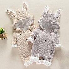 Комбинезон с капюшоном и объемными ушками для новорожденных мальчиков и девочек; детская зимняя одежда; Детский костюм