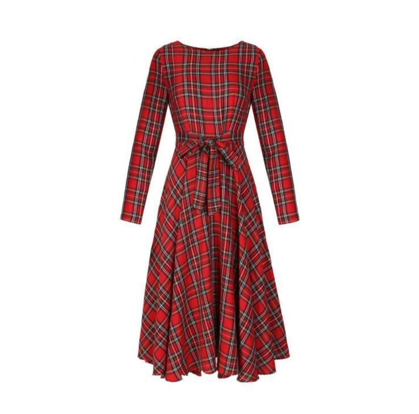 Womens XMAS Christmas Scottish Elegant Vintage Red Plaid Long Sleeve Bow Evening Party Dinner Maxi Dress