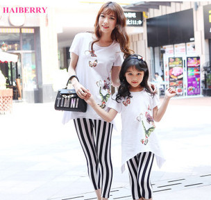 2015 Fashion New Matching Mother And Daughter clothes printed T-shirt and striped legging pants 2 pieces set Casual family look