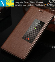 Genuine Real Leather Case Cover For Huawei P9 Plus Magnetic Smart Sleep Window Slide Answer Flip