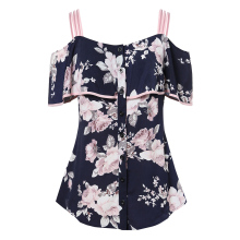 Plus Size Ruffle Floral Print Cold Shoulder Blouse Casual Square Neck Cami short Sleeve Women Summer Blouse Ladies Tops Clothing