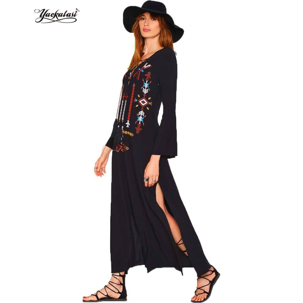 YACKALASI Women Long Dress Bohemian Vintage Ethnic Flower Embroidered Cotton Tunic Casual Hippie Boho People Asymmetric High Low
