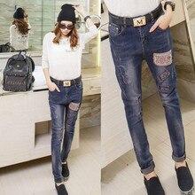 2016 патч джинсовые шаровары джинсы женщина vaqueros mujer pantalon femme джинсы с вышивкой карандаш брюки ноги