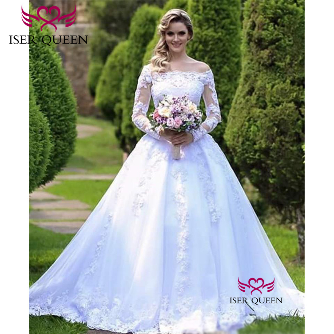 European Style 2019 Vogue Boat Neckline Long Sleeves With Embroidery Dresses For Wedding Pure White Zipper Court Train W0620