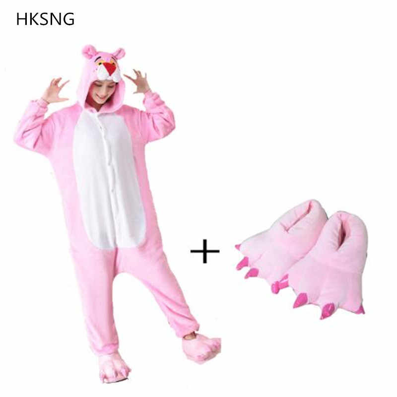 HKSNG Adult Pink Panther Onesies Pajamas Flannel Cartoon Halloween Party Cosplay Costumes Jumpsuits Pyjamas Kigurumi