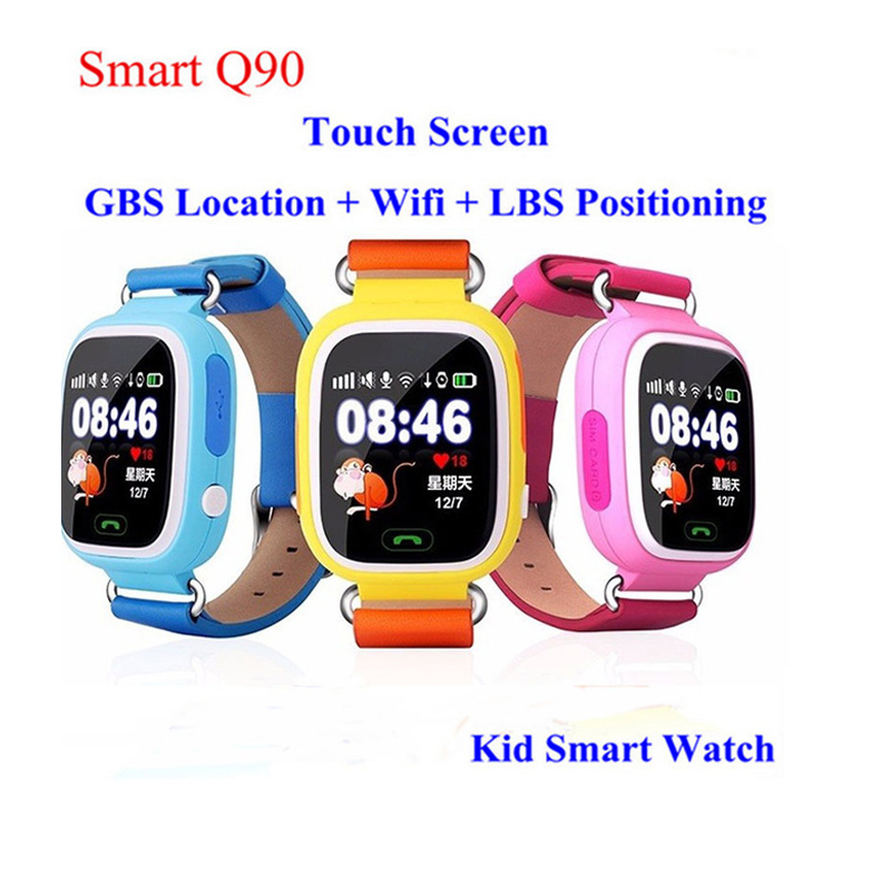 ФОТО GPS Q90 Smartwatch Touch Screen WIFI Positioning Children Smart Wrist Watch Locator PK Q50 Q60 Q80 for Kid Safe Anti-Lost #b0