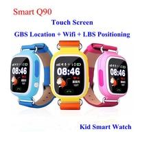 GPS Q90 SmartWatch Сенсорный экран WI-FI позиционирования Дети smart наручные часы Locator PK Q50 Q60 Q80 для малыша Безопасный Anti- Потерянный # b0