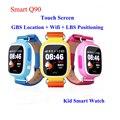 GPS Smartwatch Q90 Touch Screen WIFI Posicionamento Crianças Pulso Inteligente relógio Localizador PK Q50 Q60 Q80 para Criança Seguro Anti-Lost # b0