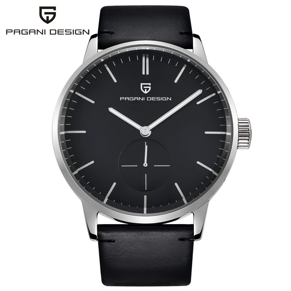 PAGANI DESIGN Watch Mens Waterproof Leather Watch Strap Business Quartz Wrist Watch Gold Silver Clock Men saat Relogio Masculino