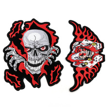 Red Skull Skeleton Iron On Patches Punk Stripes For Clothes DIY Embroidered Patch Applique Badges Clothing T Shirt Big Size 1PC with rhinestones star skeleton iron on patches stripes for clothes diy embroidered patch applique badges clothing t shirt crafts
