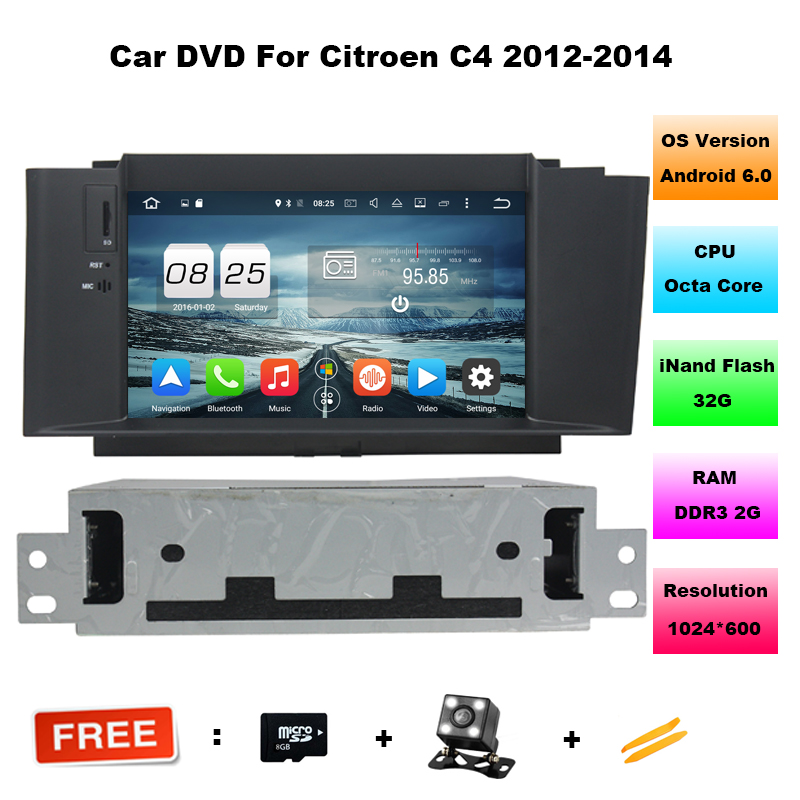 Octa Core Android 6.0 Car DVD GPS for Citroen C4/C4L NEW with Bluetooth phonebook Radio RDS Wifi 3G host CANBUS Mirror-link автомобильный dvd плеер joyous kd 7 800 480 2 din 4 4 gps navi toyota rav4 4 4 dvd dual core rds wifi 3g