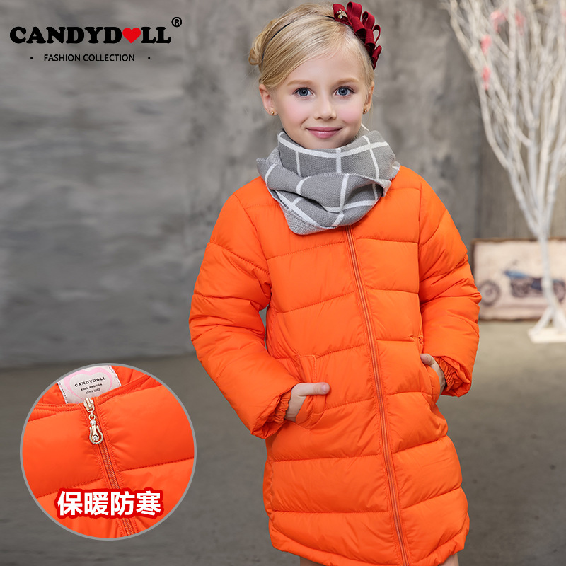 Korean children coat thick winter models girls cotton round neck orange tidal range of children in the long section padded warm barbour tidal crew neck sea salight marl