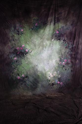 10x20ft 100% coton peint à la main fantaisie scénique mousseline fond de fond vert, fond de mariage de fleurs pour studio de photo
