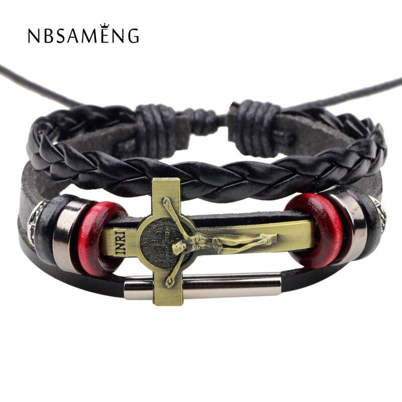 New Leather Bracelet Fashion Men Jewelry Charm Bracelets 2018 Cross INRI Jesus Adjustable Handmade Bangle For Women