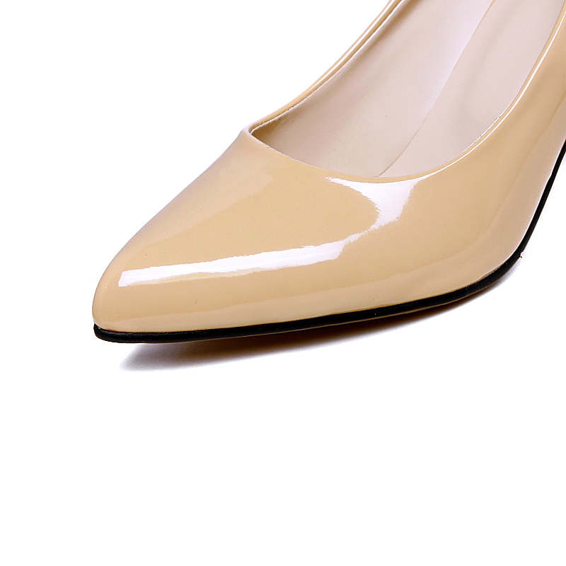 Image 4 - Plus size 46 2019 Fashion Classic Women Pumps Thick High Heels Shoes Solid PU Leather Nude Red black Office Wedding Shoes Womanwedding shoeswedding shoes womenwomen pumps -