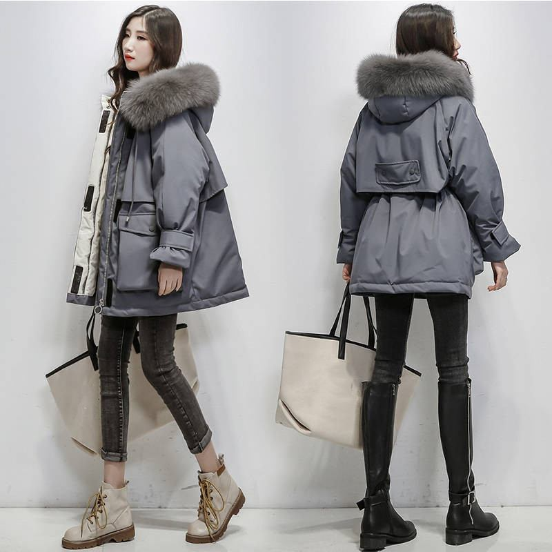 Dotoo Winter Womens Hooded Loose Black Long White Duck Down Jacket Polyester Fiber