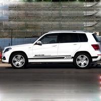 2 pcs Side Stripe Decal Amg Sticker for Mercedes Benz W205 C180 C200 C63 AMG Logo Side Skirt Body Garland Car Stickers