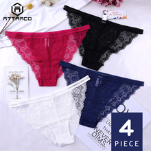 ATTRACO Women Underwear Hipster  String Pantie Briefs Cotton 4 Pack Tanga Thong Lace Edge Breathable Transparent Tempting Sale