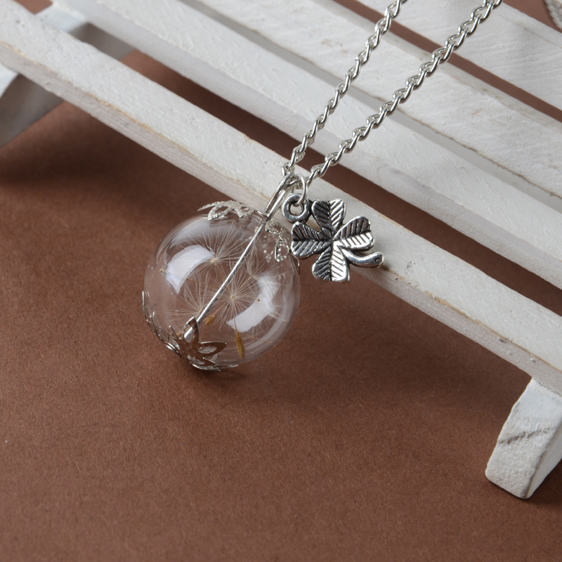 ball bottle Vial Necklace with silver clover