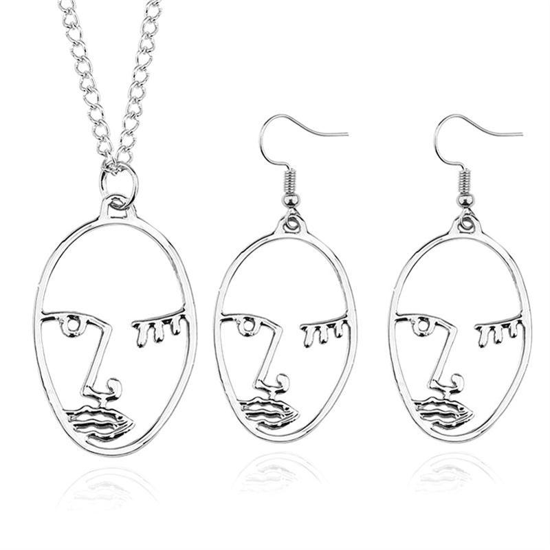 Fashion Abstract Face Jewelry Sets Hollow Facial Contour Silhouette Hand Faces Pendant Necklace Earrings Women Jewellery Set