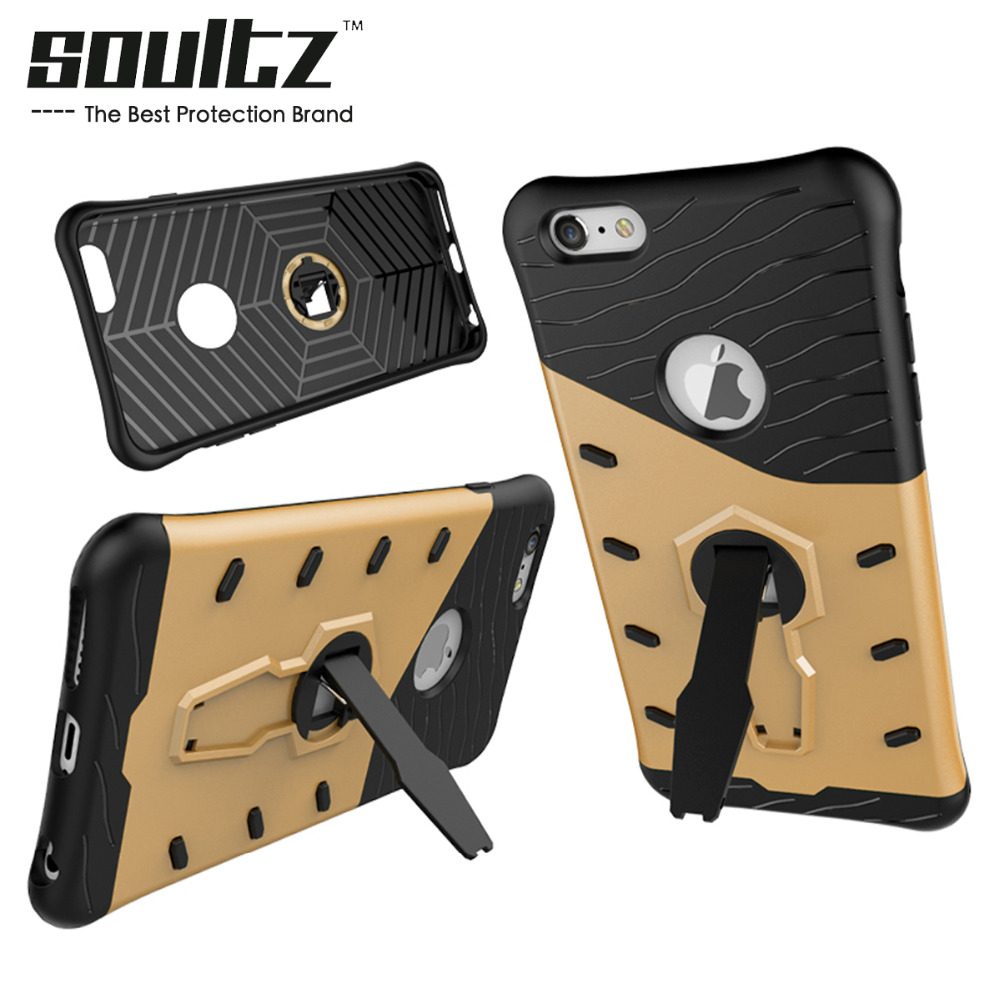 Soultz Phone Case Cover for Iphone 7 6 5 Build with TPU Plastic Material Anti-Knock Kickstand Phone Case Cover On Sale