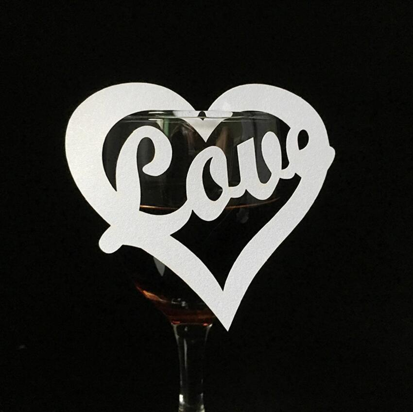 100pcs Heart LOVE Paper Place Card Cup Card Wine Glass Card For Wedding Party Christmas Festival Table Decoration