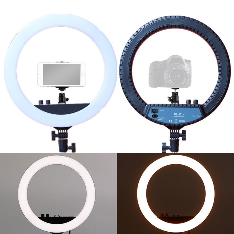 New 14 inches LED Ring FLash Lamp Fill Light with Cold Shoe Mounts Holder Ball Head for Video Blogger Makeup Photography