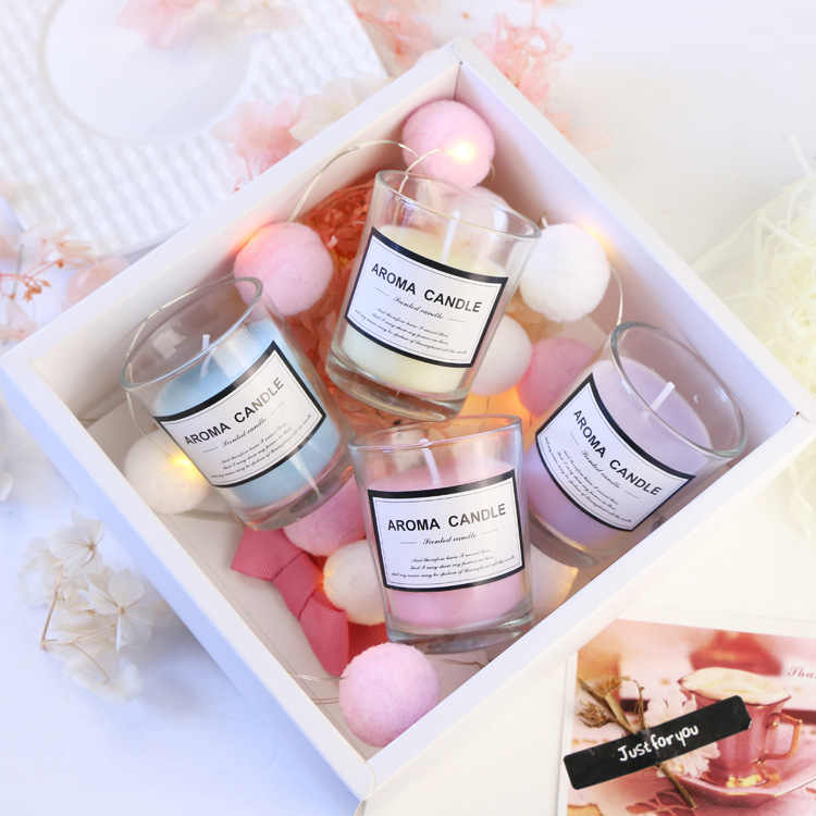 4pcs Scented Candles Craft Candle Gifts Wedding Column Wax Smokeless Fragrant Candle Decorative Fressia Ocean Lavender Rose