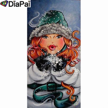 DIAPAI Diamond Painting 5D DIY 100% Full Square/Round Drill Beauty hat snow Embroidery Cross Stitch 3D Decor A21255