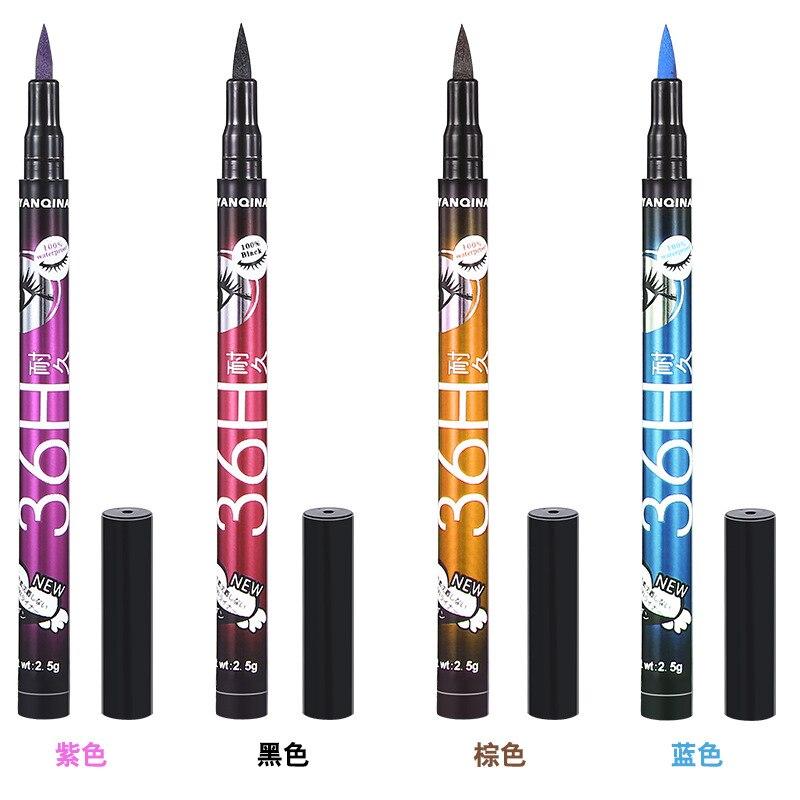 Подводка для глаз 36H, 4 цвета, водостойкая прецизионная жидкая подводка для глаз, Гладкие инструменты для макияжа        АлиЭкспресс - Для красоты и здоровья