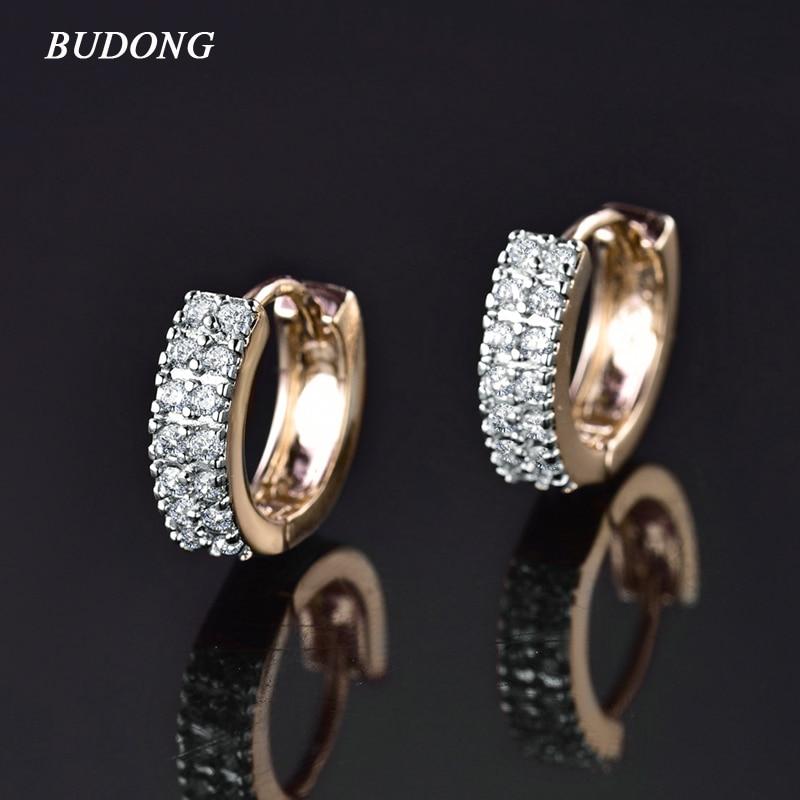 BUDONG Vintage Moterų apvalios auskarai kubinių cirkonio sidabro / aukso spalvos begalybės baltas kristalų prabangos lanko auskarai papuošalai E101
