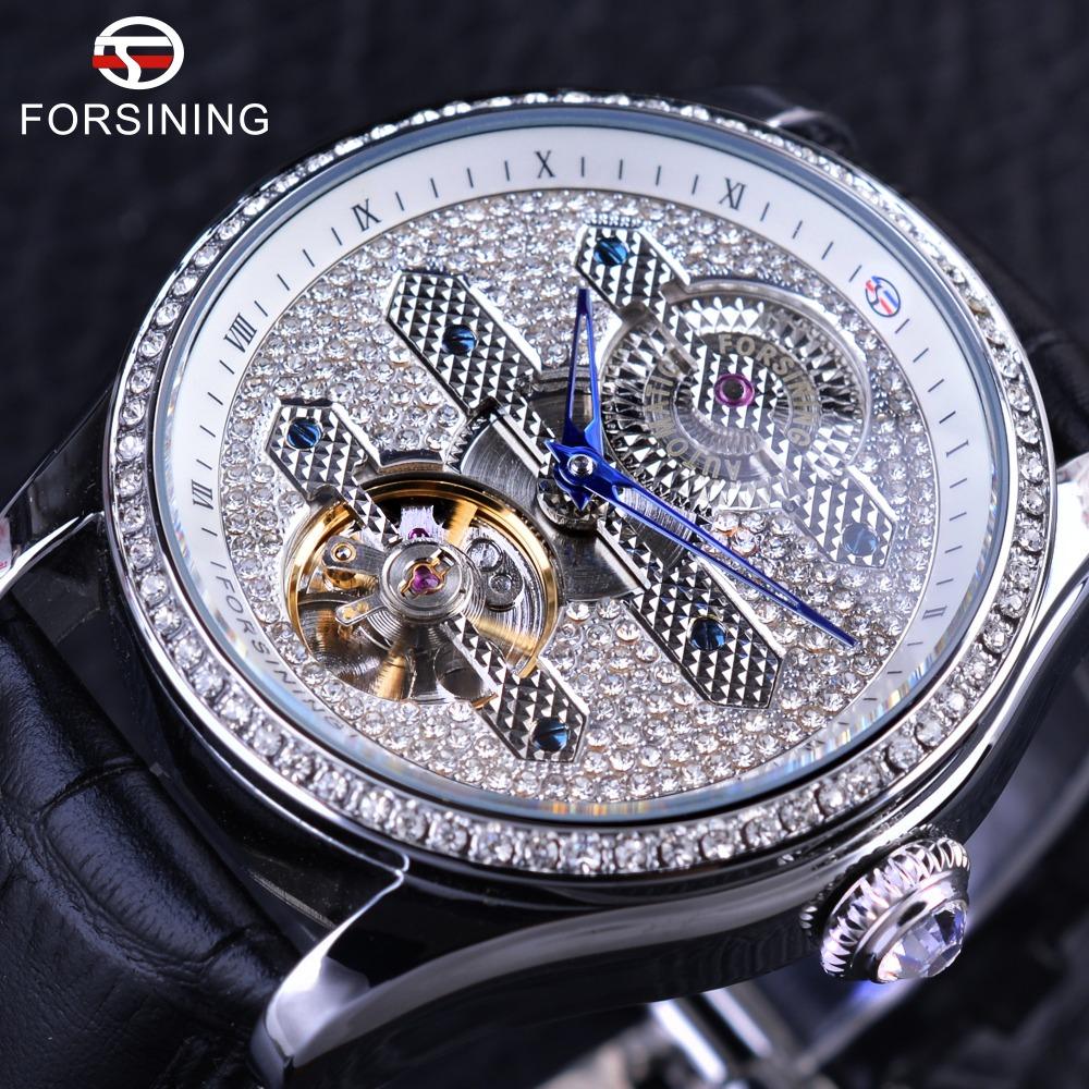 Prix pour Forsining 2017 Conception En Cuir Véritable Diamant Affichage Bleu Mains Tourbillon Étanche Mens Automatique Montres Top Marque De Luxe