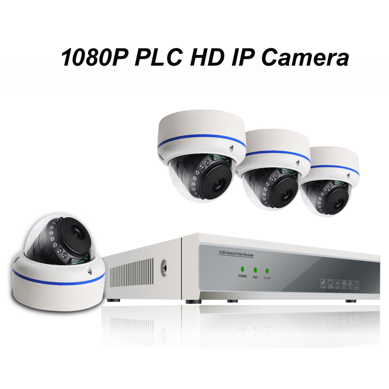 4pcs of 1080P PLC HD IP Dome Camera with 1080P NVR Kit with Power Line Communication Module Built-in Reach 300m Power Supply