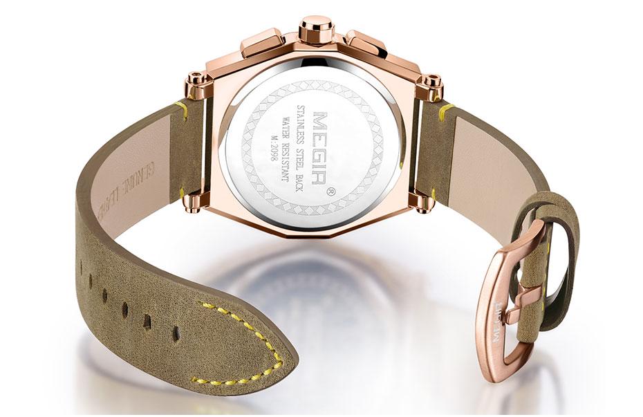 a6df820e4a3 Megir Men s Retro Quartz Watches Brown Leather Strap Relogio ...