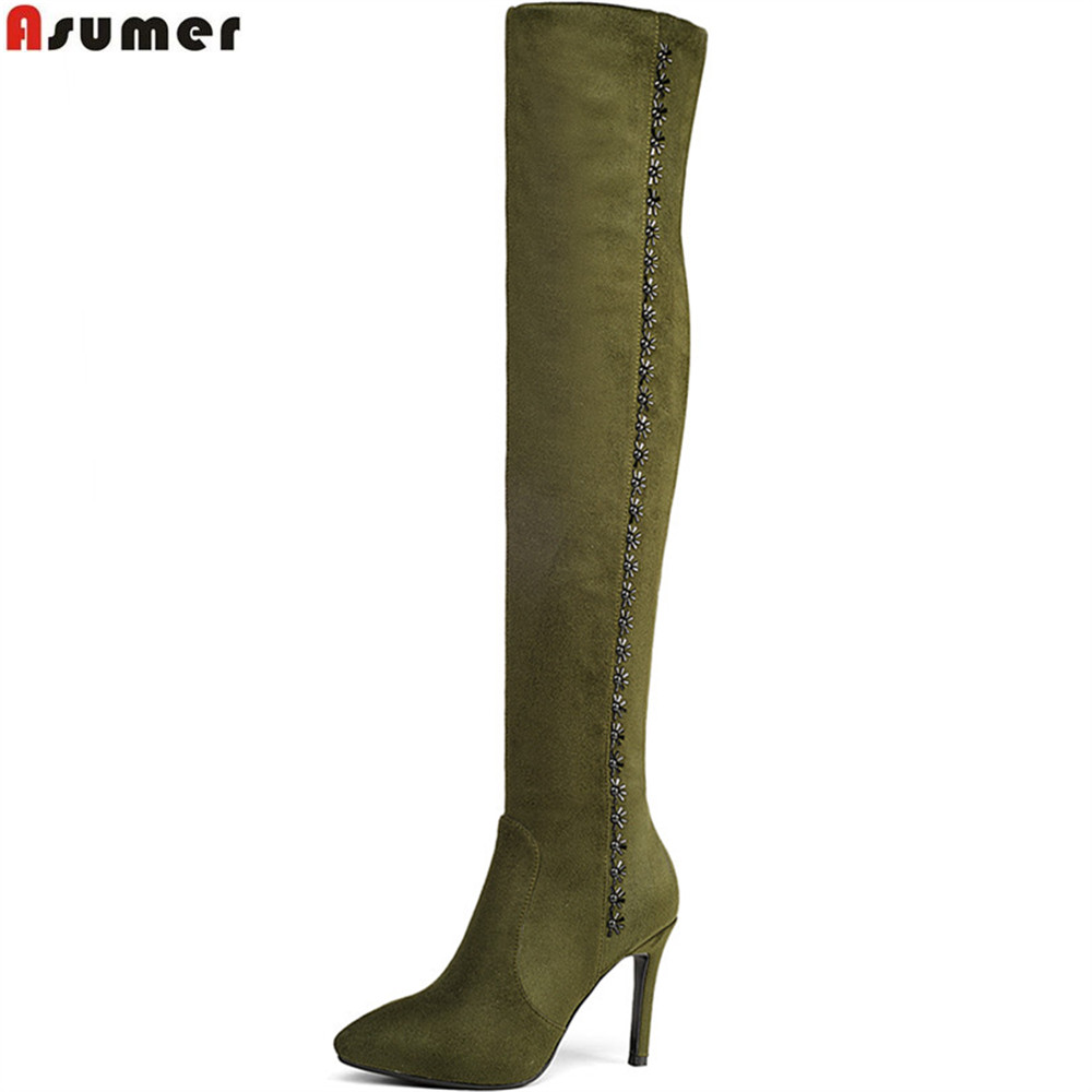 ASUMER autumn winter women boots pointed toe kid suede ladies boots black army green thin heel super high over the knee boots