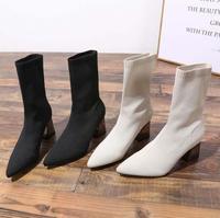 Tide/брендовые носки, ботинки на толстой подошве, короткие женские ботинки, 2019 г. Новая Корейская версия диких тонких ботинок на высоком каблу