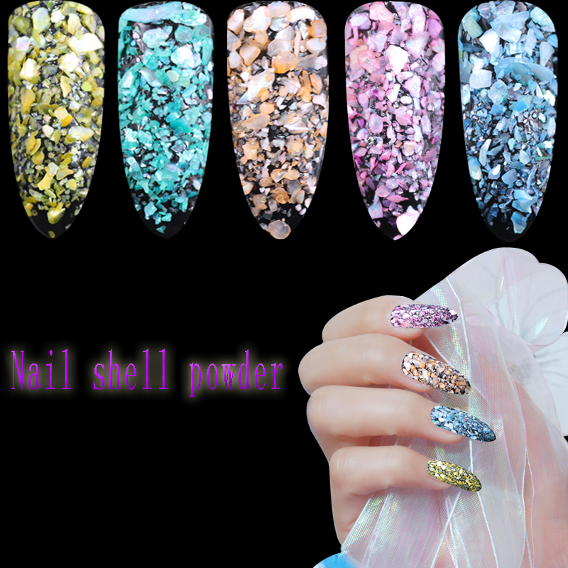 12jars/set 12 colors Nail Art Glitter Laser Crushed Shell dust Bits For Nail Polish UV Acrylic 3D Nail Manicure Decorations gold and silver mixed styles acrylic 3d nail art decorations nail glitter rhinestone for uv gel nail polish