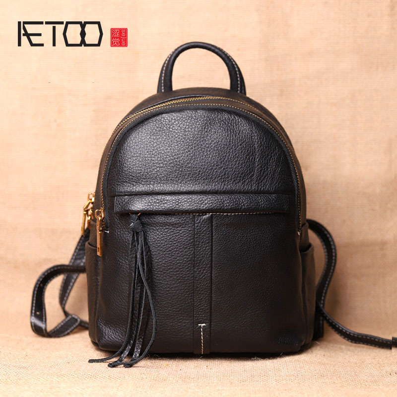 AETOO Original new backpack female cowhide leather casual retro art wild female backpack female bag personality aetoo original new backpack female cowhide leather casual retro art wild female backpack female bag personality