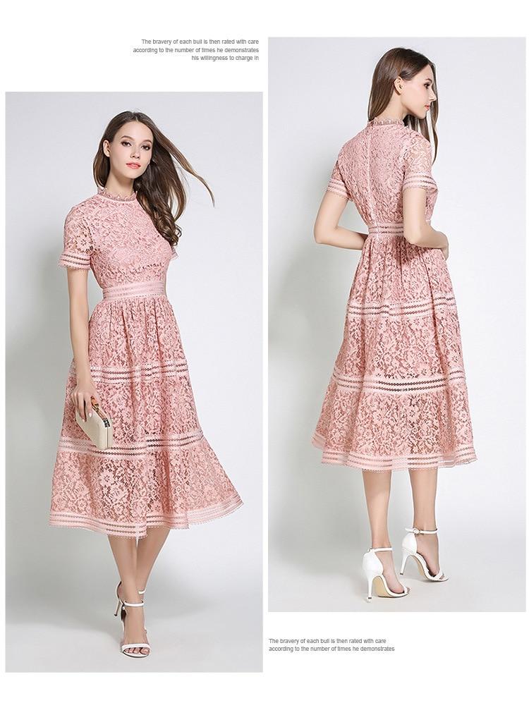 2 Color Hollow Out Lace Beauty Elegant Dress