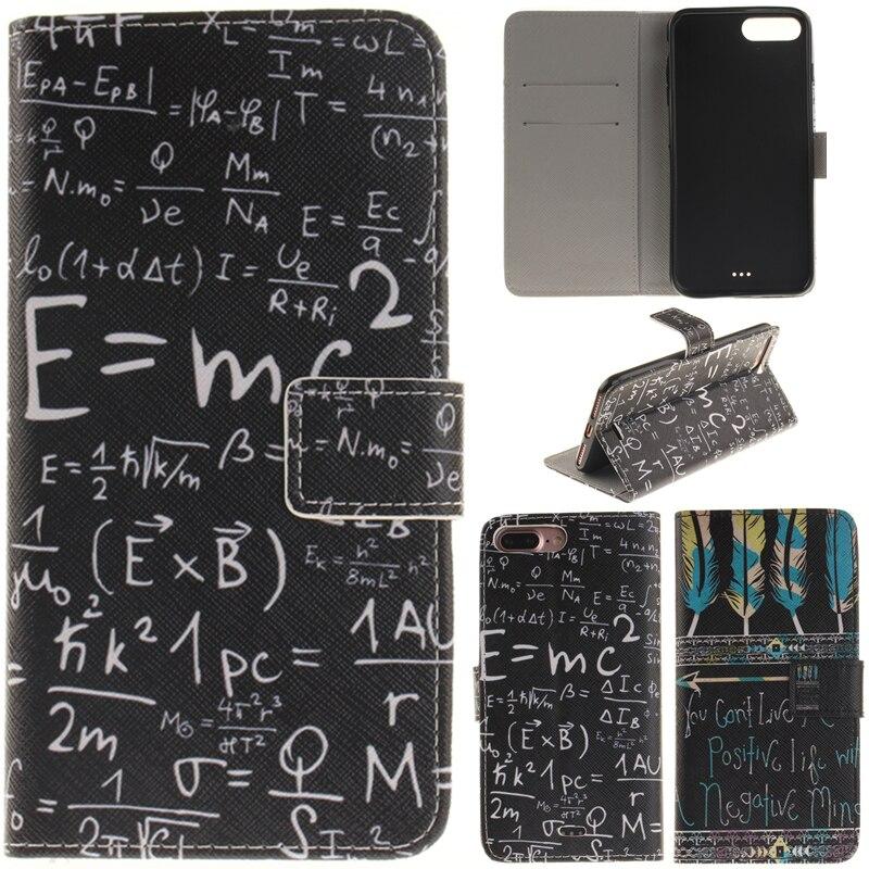 Para Iphone 7 Plus Cute Cartoon Lovers Totem Formula Leather Wallet - Accesorios y repuestos para celulares - foto 1